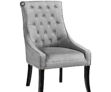 Pamela Grey Velvet Tufted Accent Chairs