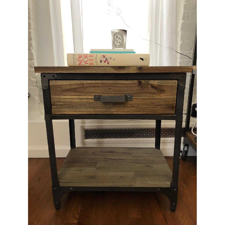 World Market Wood & Metal Side Tables-0