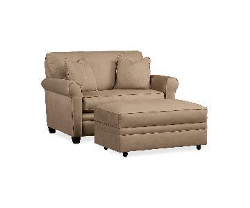 Macy's Beige Twin Sleeper Chair & Ottoman