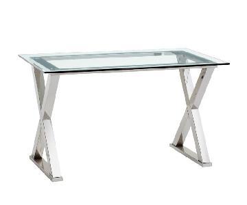 Pottery Barn Ava Glass & Polished Nickel Metal Desk