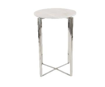 Studio 350 Modern Metal & Marble Round Side Tables