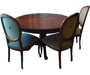 Round Italian In-lay Dining Table w/ 4 chairs