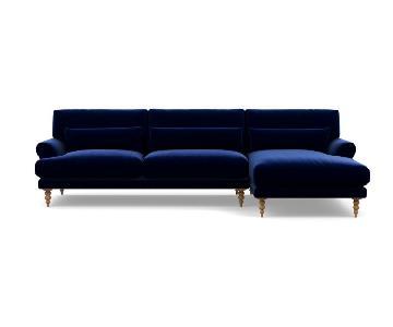 Interior Define Maxwell Mod Blue Velvet Sectional Sofa