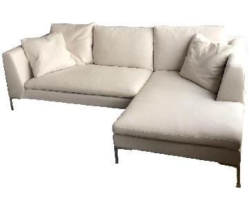 White 2-Piece Chaise Sectional Sofa