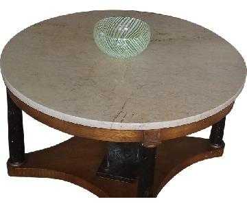Antique Style Marble-Topped Coffee Table