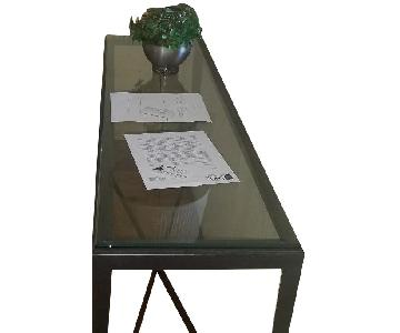 Metal Frame Glass-Topped Display End Table