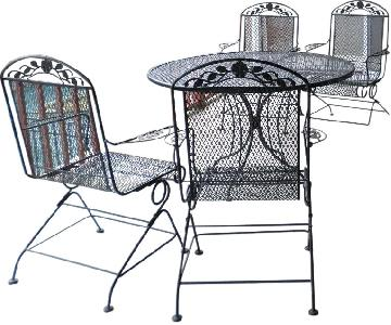 Outdoor/Patio Rounded Metal Table w/ 4 Chairs