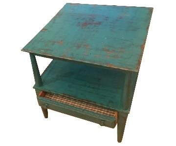Shabby Chic Teal Side Tables