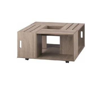 Furniture of America Rustic Square Crate Style Coffee Table