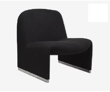 Giancarlo Piretti Alky Style Black Velvet Chairs