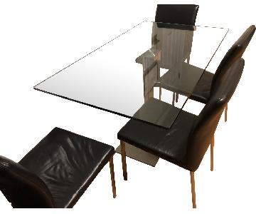 Cattelan Italia Italian Glass Dining Table w/ 4 Chairs
