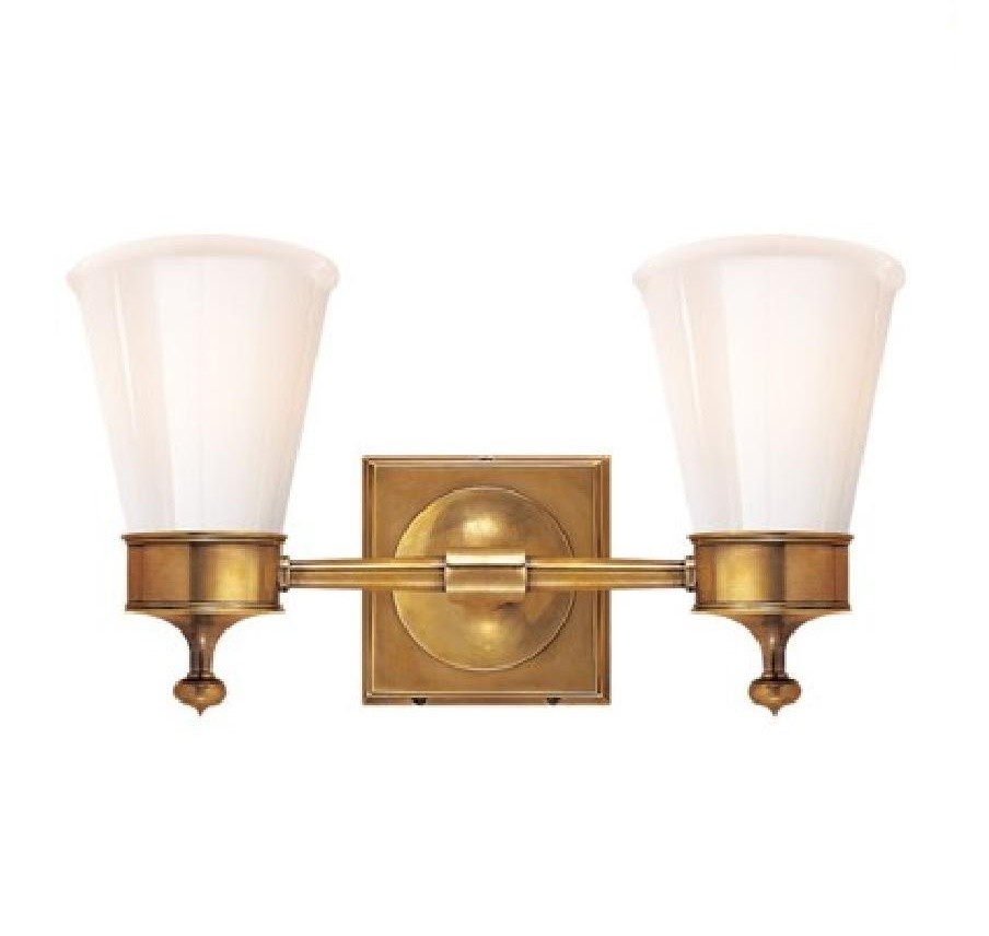 Hand Rubbed Brass & White Glass Bath Wall Sconce