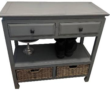 Wood 2-Drawer Console w/ Baskets