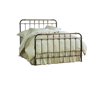 Charles P. Rogers Brass & Iron King Size Bed w/ Headboard