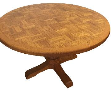 Round Parquet Wood Pedestal Table w/ 2 Chairs