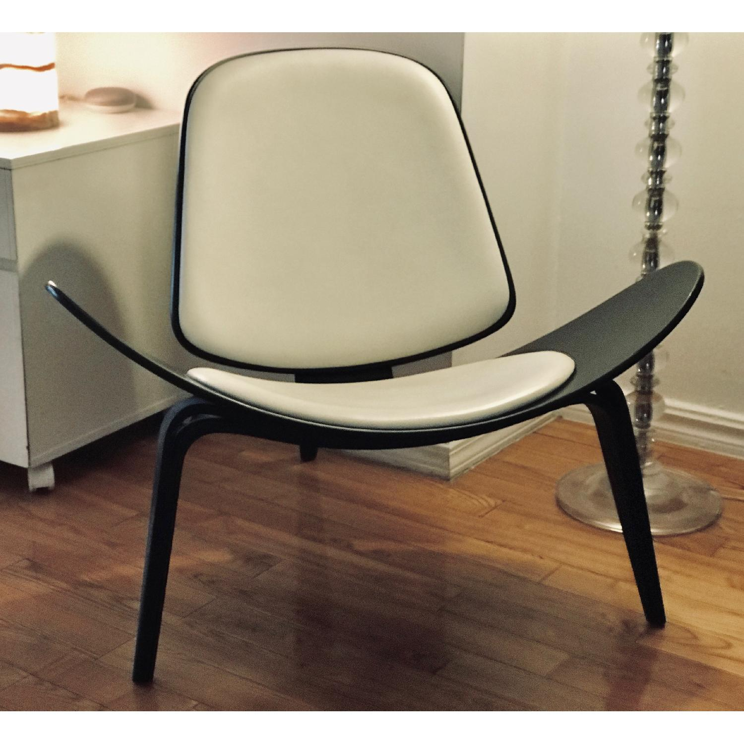 Design Within Reach Shell Chair in Black Wood/White Leather-0
