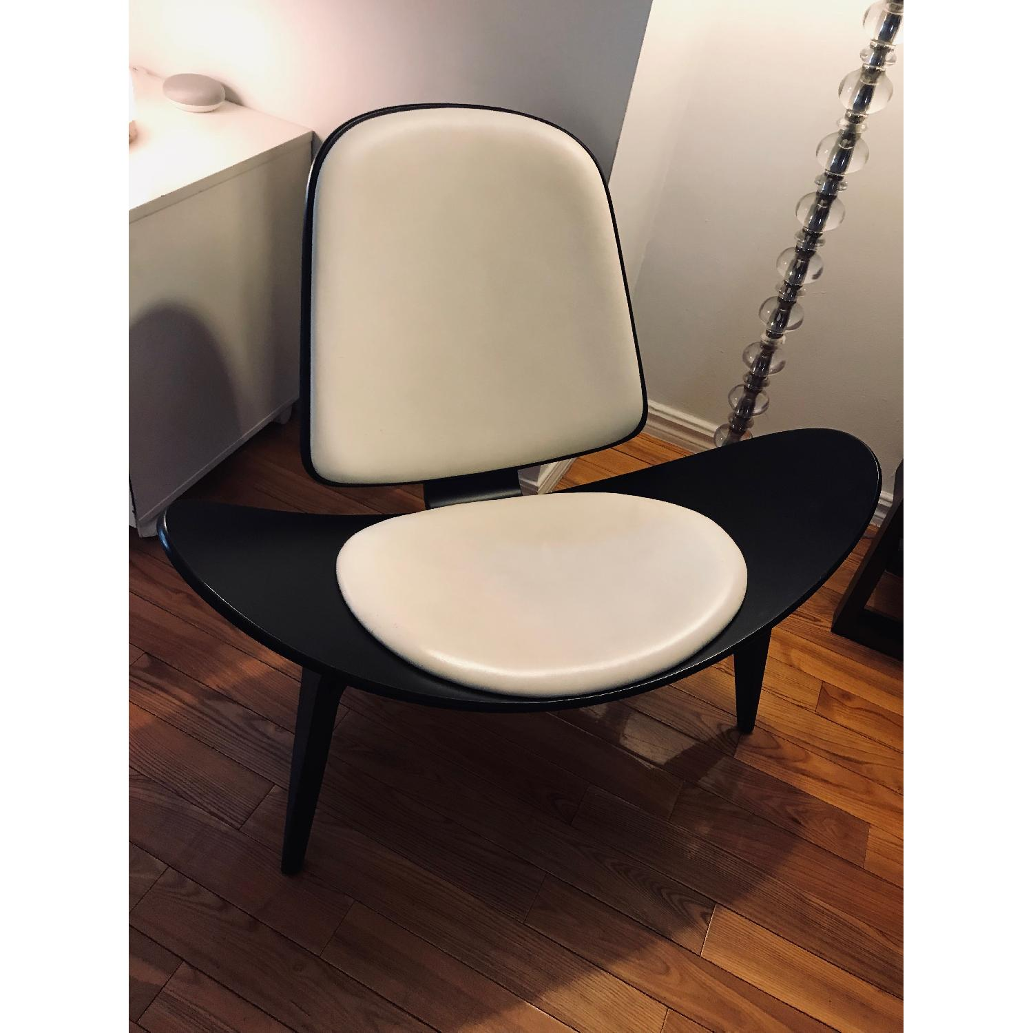 Design Within Reach Shell Chair in Black Wood/White Leather-1