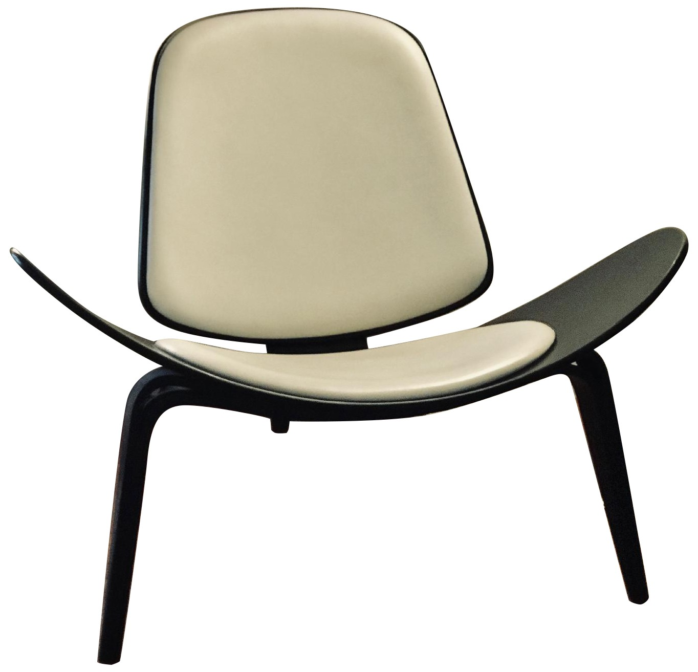 Design Within Reach Shell Chair in Black Wood/White Leather