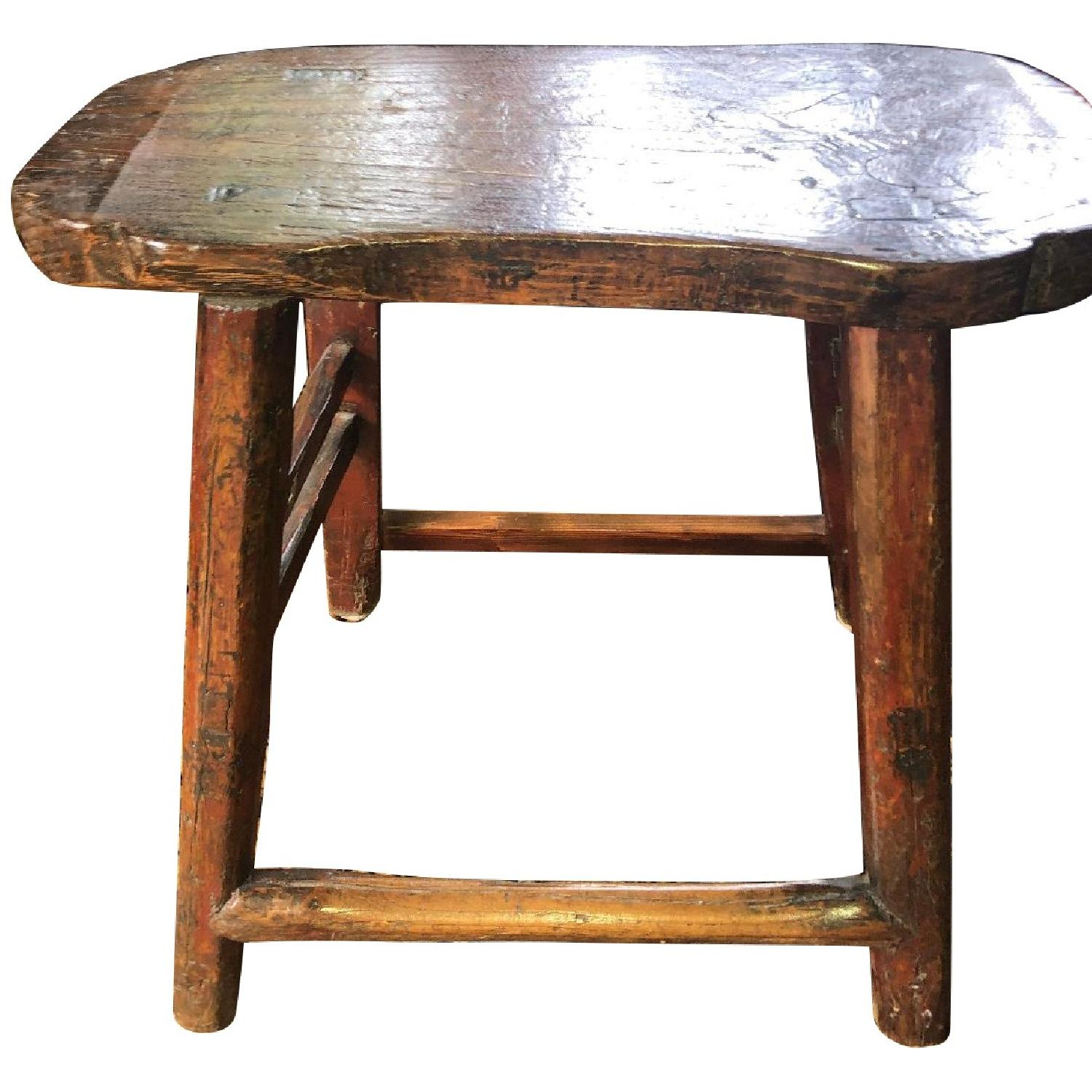 Antique Chinese Stool w/ Customs Sticker - image-0