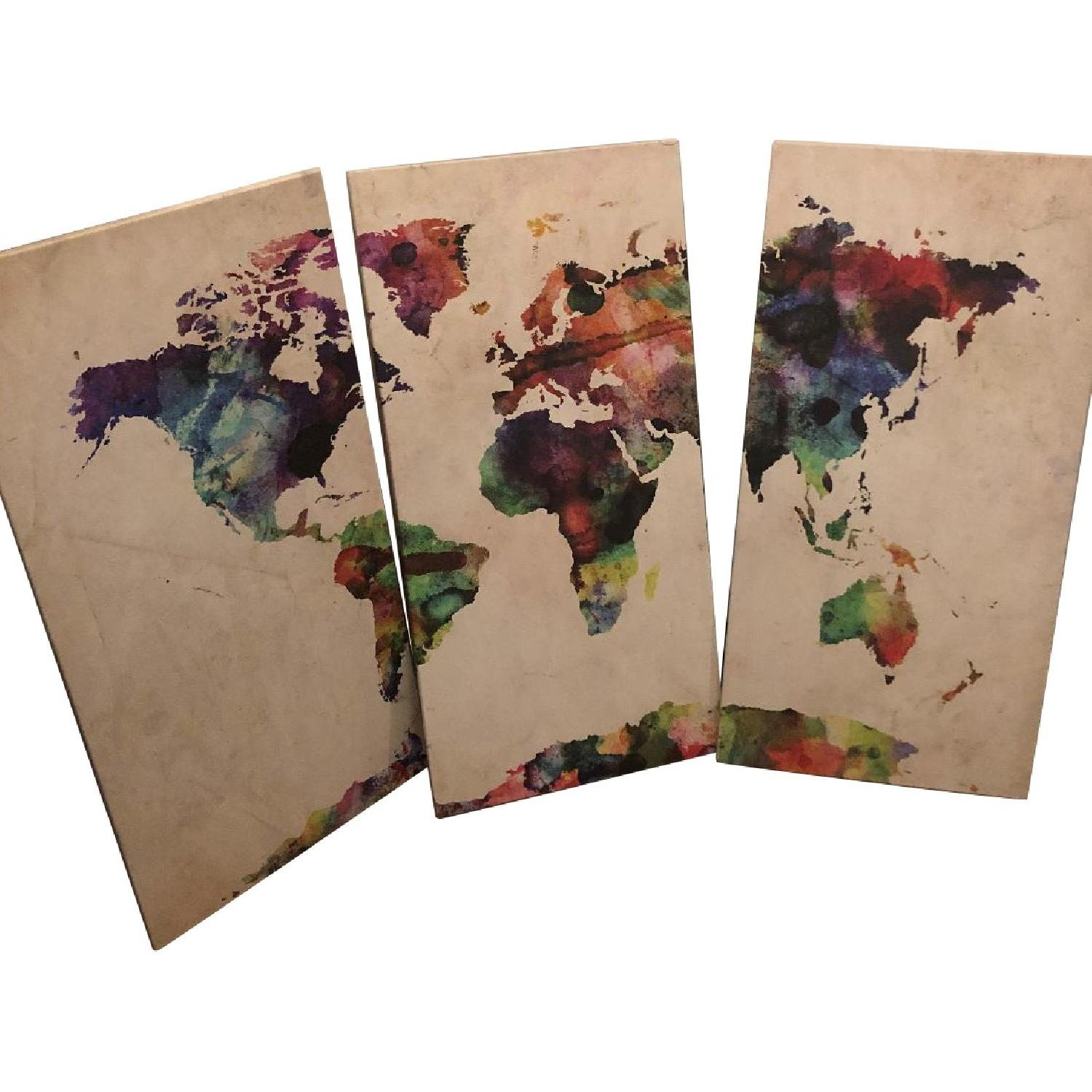 Michael Tompsett 3-Piece World Map Watercolor - image-0