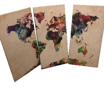 Michael Tompsett 3-Piece World Map Watercolor