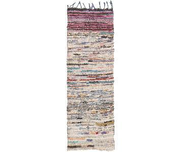 Pink & Beige Wool Runner Rug