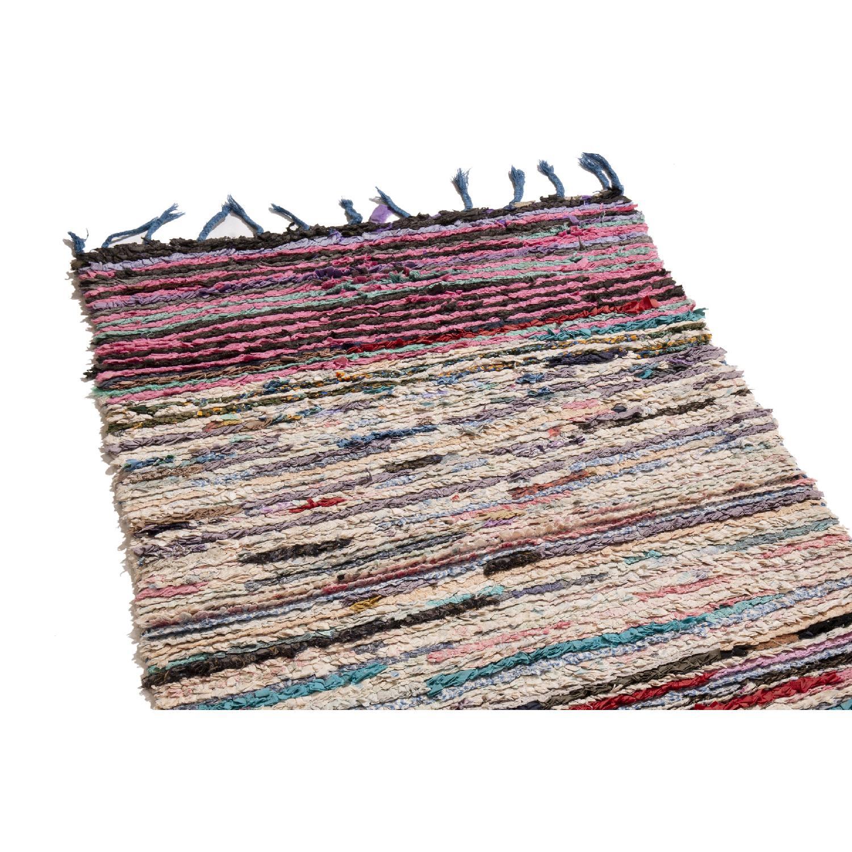 Pink & Beige Wool Runner Rug - image-1