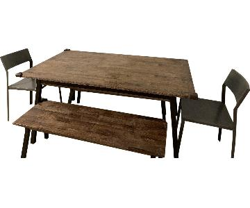 Dot & Bo Dining Table w/ 2 Benches & 2 Chairs