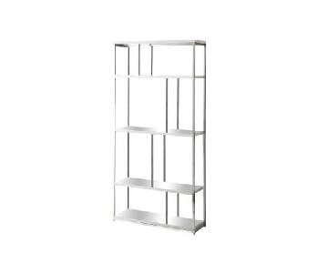Monarch Metal Bookcase in Glossy White/Chrome