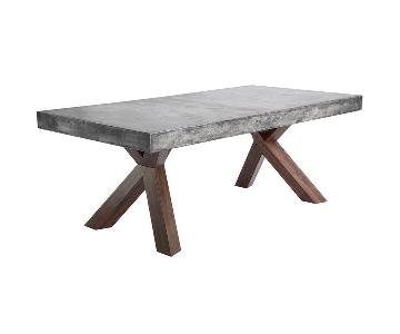 Sunpan Warwick Grey Rectangular Stone Top Dining Table