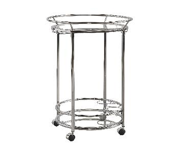 Metropolitan Round Chrome Metal Mobile Bar Cart w/ Glass Top