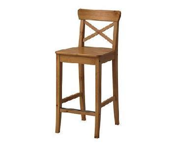 Ikea Ingolf Bar Stool w/ Backrest in Oak/Antique