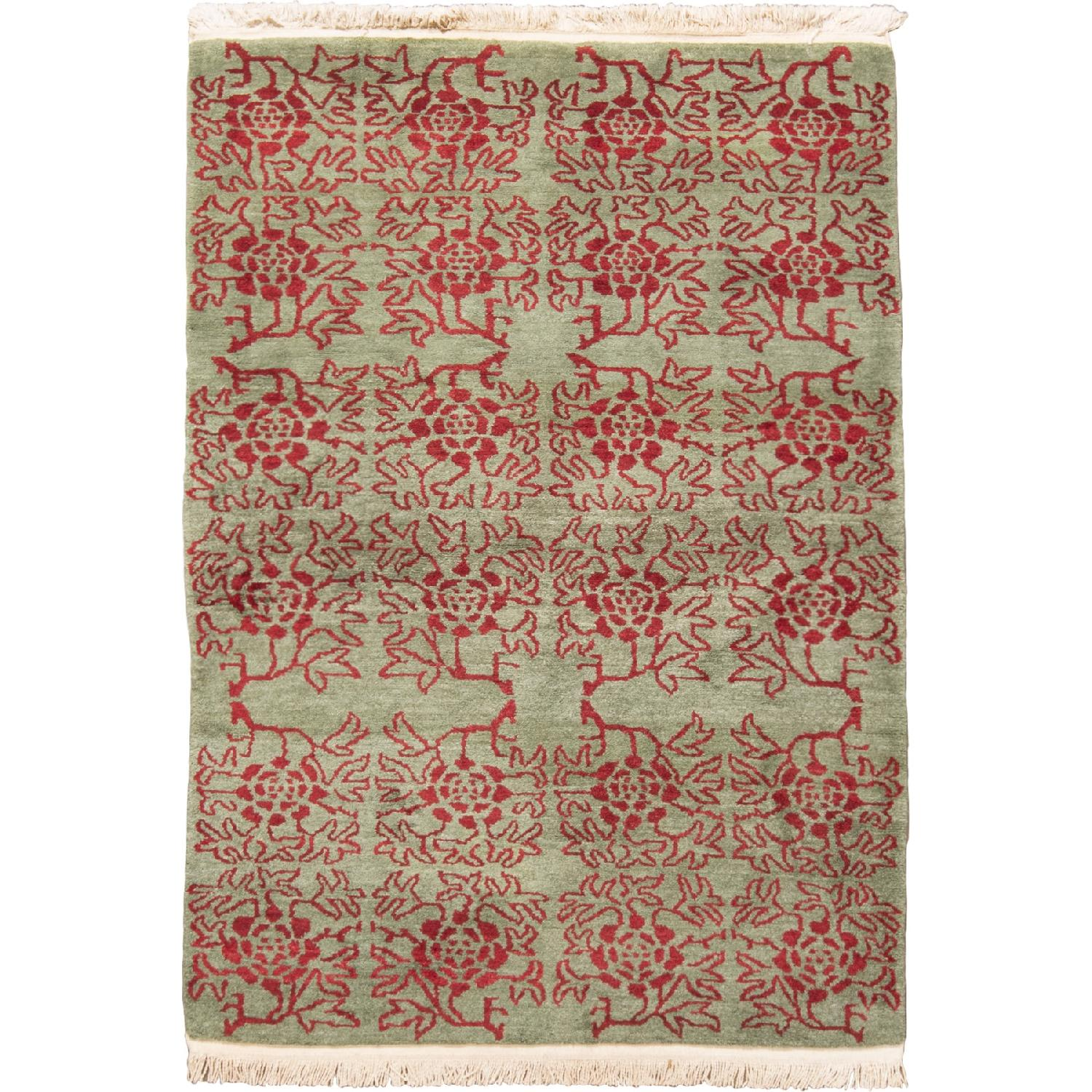 Transitional Green & Red Floral Wool Rug - image-0
