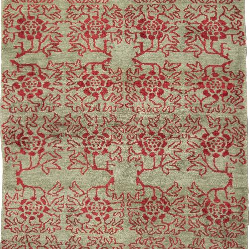 Used Transitional Green & Red Floral Wool Rug for sale on AptDeco