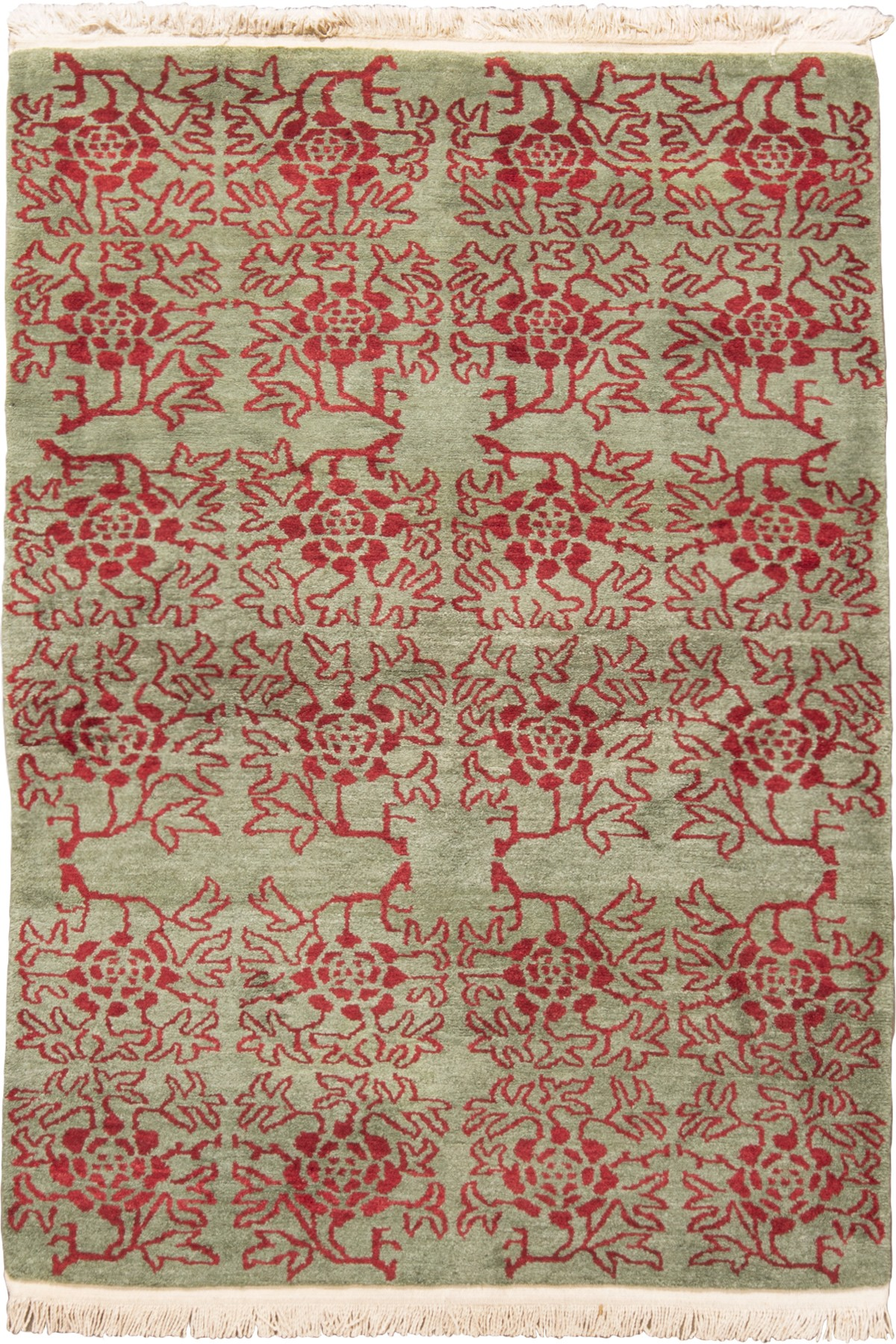 Transitional Green & Red Floral Wool Rug