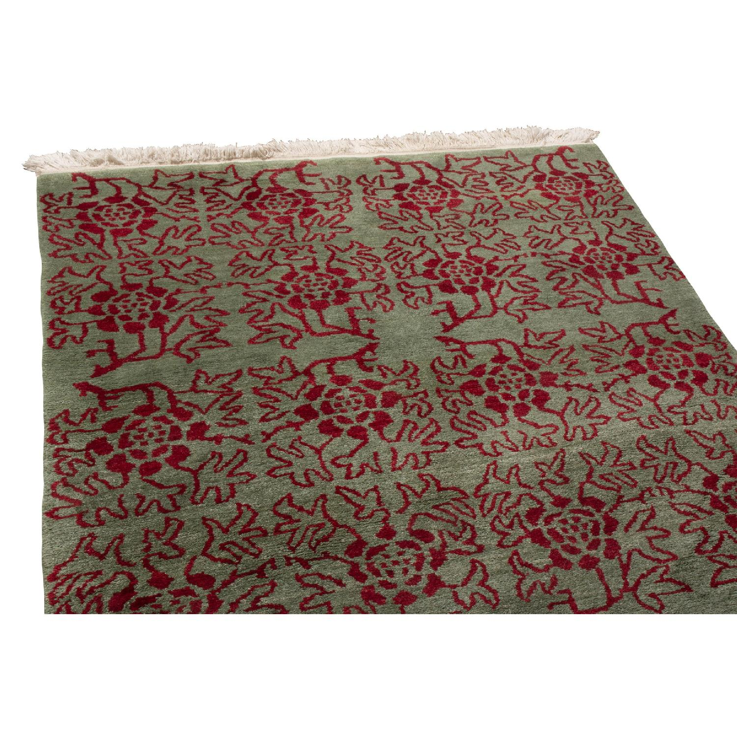 Transitional Green & Red Floral Wool Rug - image-1
