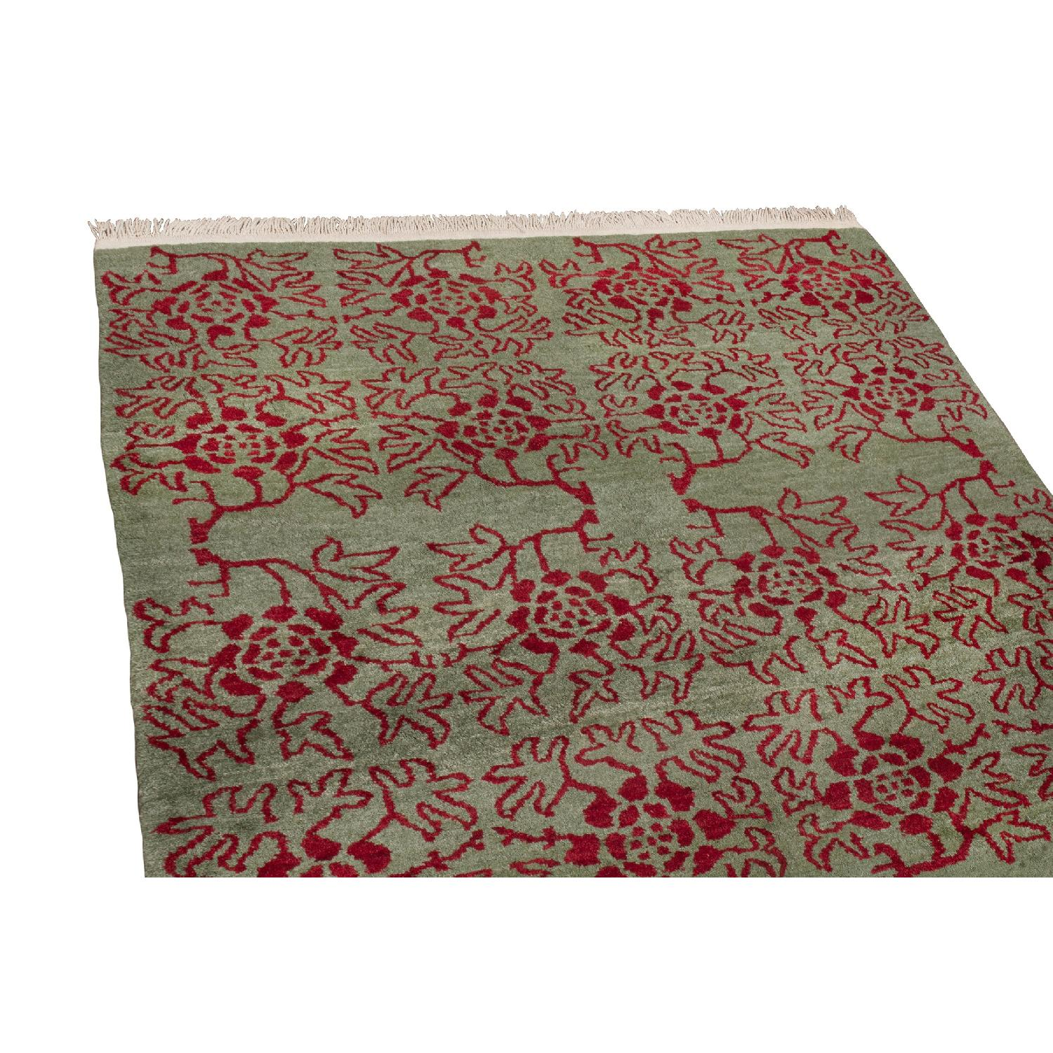 Transitional Green & Red Floral Wool Rug - image-2