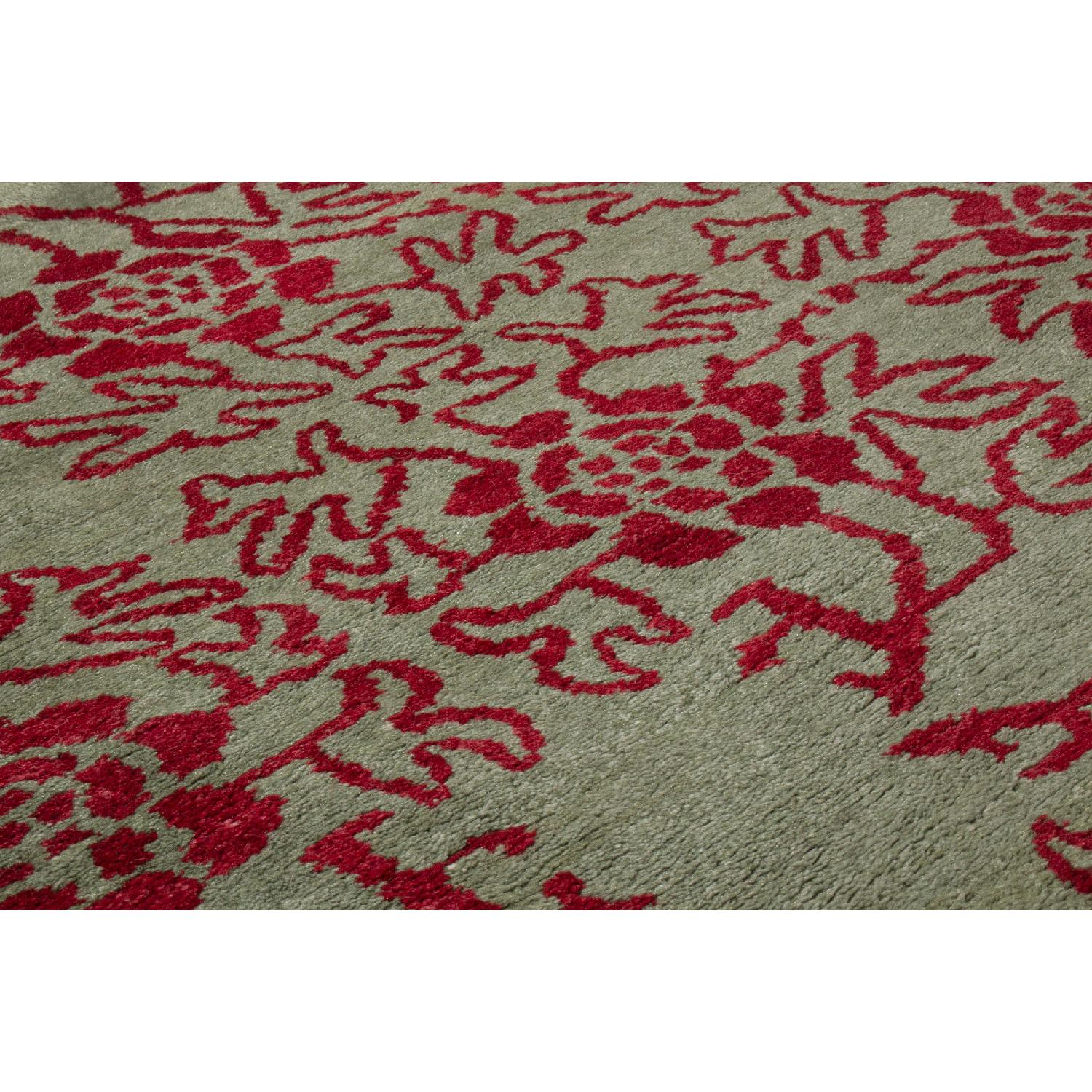 Transitional Green & Red Floral Wool Rug - image-3