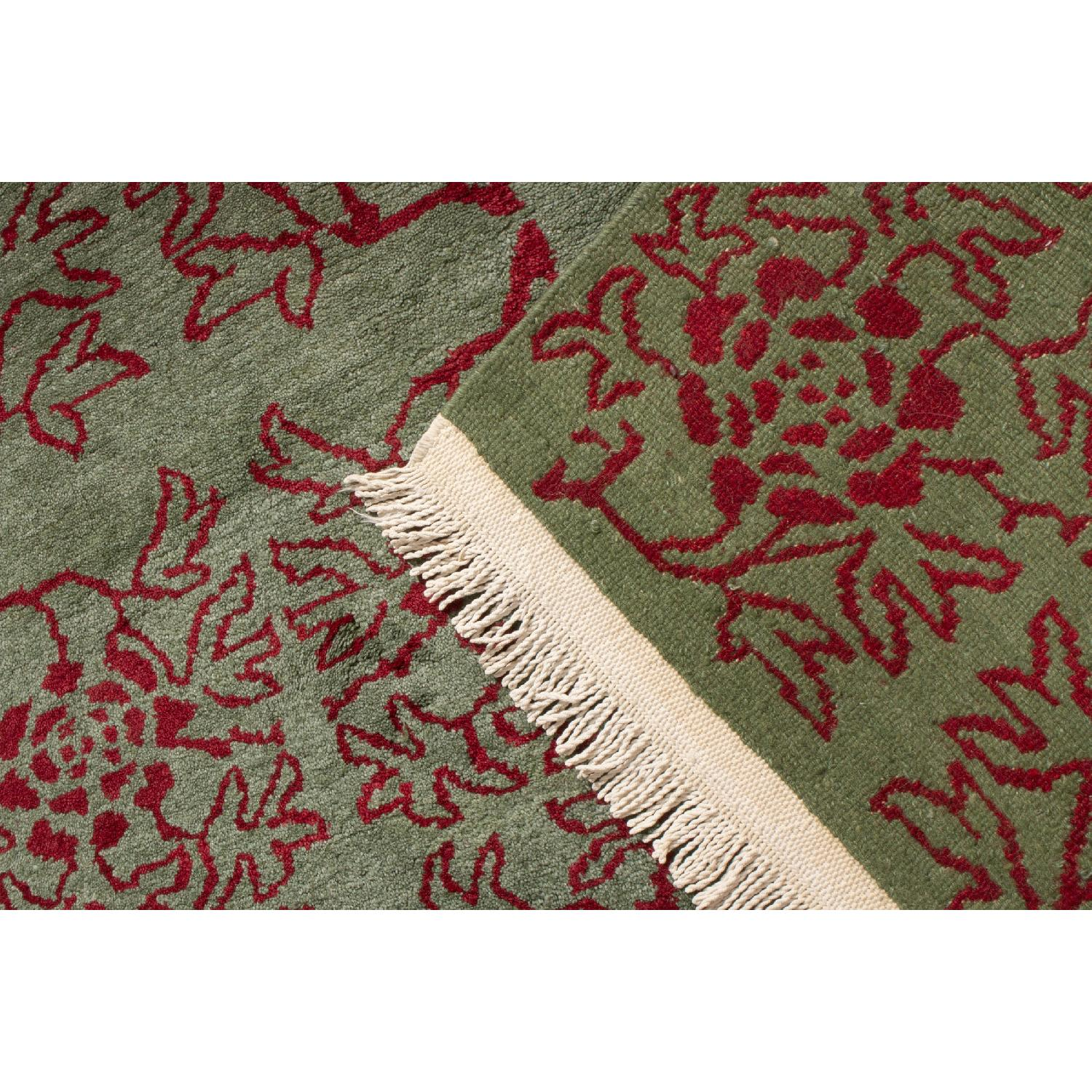 Transitional Green & Red Floral Wool Rug - image-4