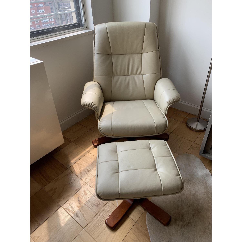 Raymour & Flanigan Carter Reclining Chair & Ottoman-0