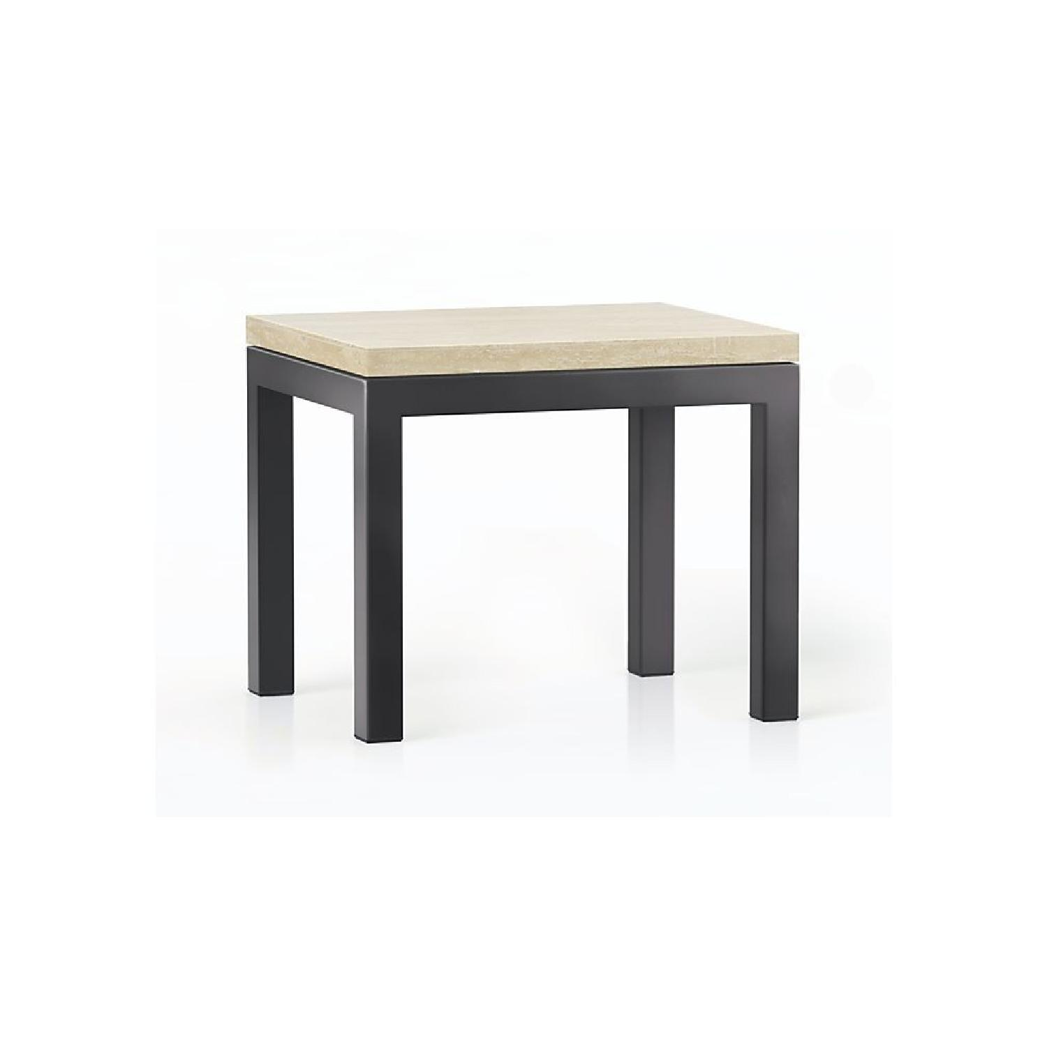 Crate & Barrel Travertine/Black Steel Side Table