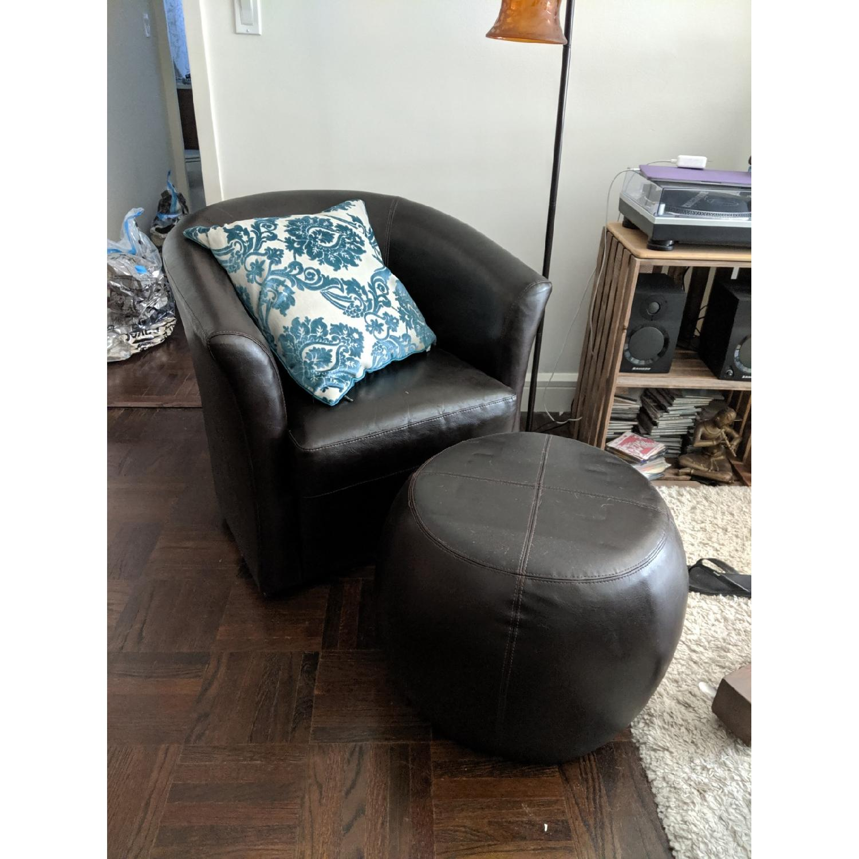 Pier 1 Leather Swivel Chair & Ottoman - AptDeco