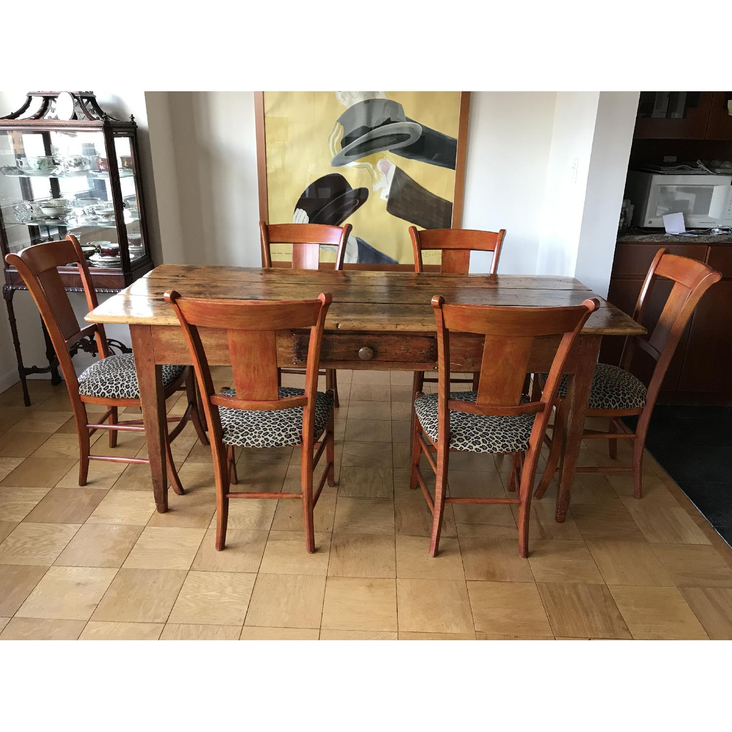 Antique Farm Wood Table w/ 6 Chairs