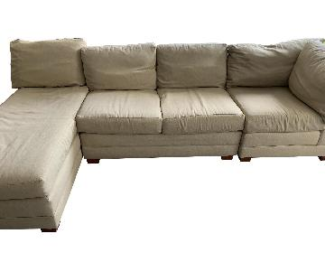 Crate & Barrel Sectional Sofa w/ Chaise and Ottoman