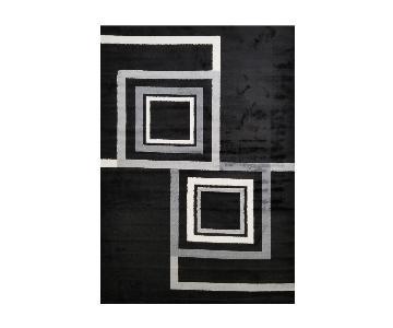 Homedora Black Geometric Area Rug