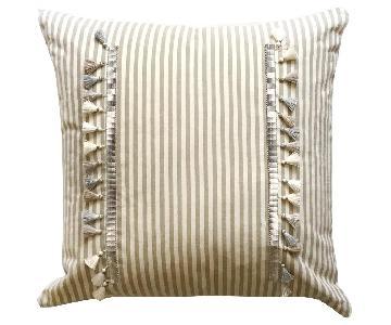 French Tonal Stripe Throw Pillow w/ Tassels