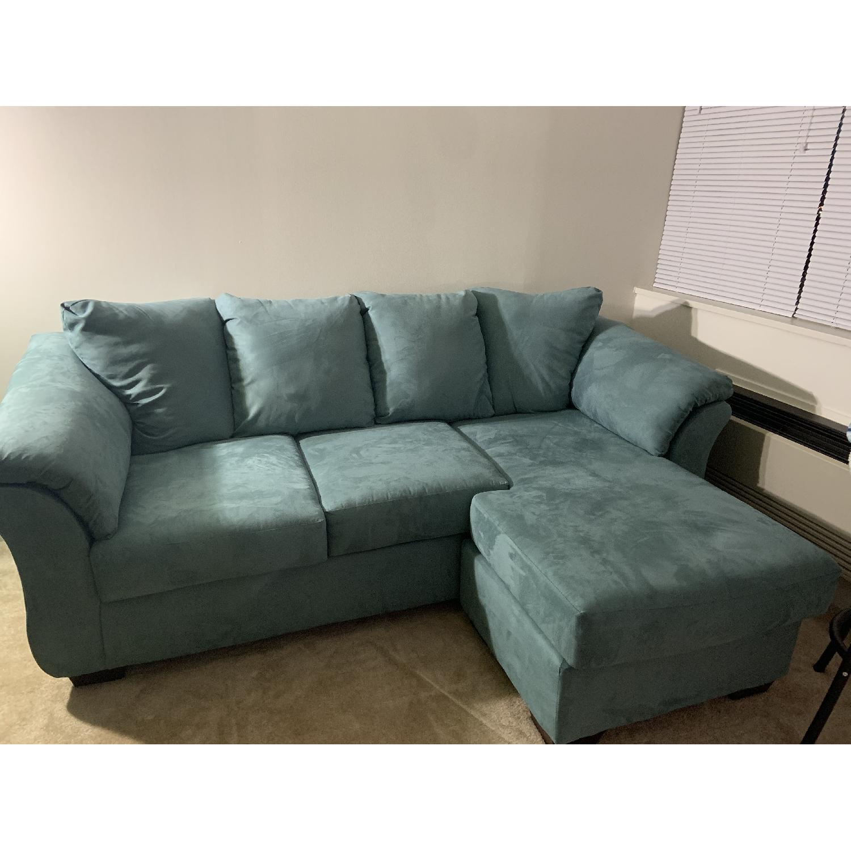 Brilliant Ashley Darcy Chaise Sectional Sofa In Sky Blue Aptdeco Creativecarmelina Interior Chair Design Creativecarmelinacom