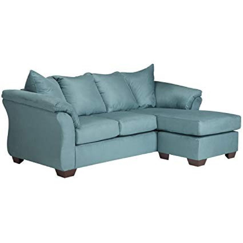 Pleasing Ashley Darcy Chaise Sectional Sofa In Sky Blue Aptdeco Dailytribune Chair Design For Home Dailytribuneorg