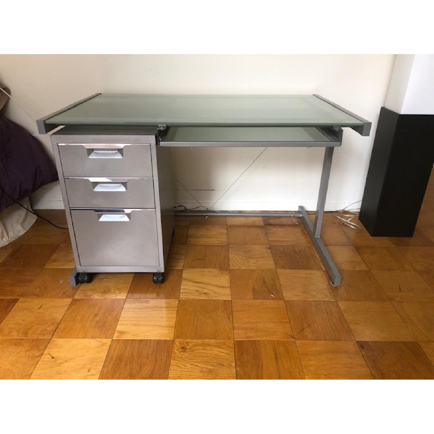 Crate & Barrel Chrome Computer Desk w/ File Cabinet - image-0