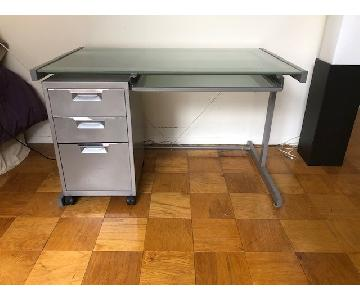 Crate & Barrel Chrome Computer Desk w/ File Cabinet